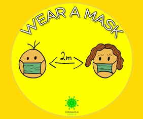 WEAR A MASK FOR SAFE LIFE TEMPLATE Rectángulo Grande