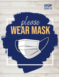 wear mask flyer, covid-19 ใบปลิว (US Letter) template