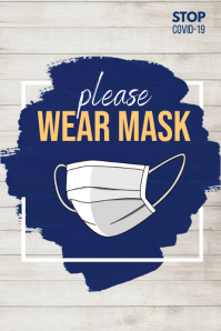 wear mask poster, covid-19 template
