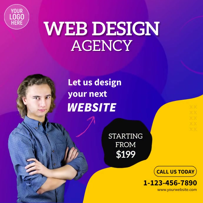 Web Design Company Video Ad Kwadrat (1:1) template