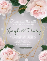 Wedding, anniversary, save the date Volantino (US Letter) template