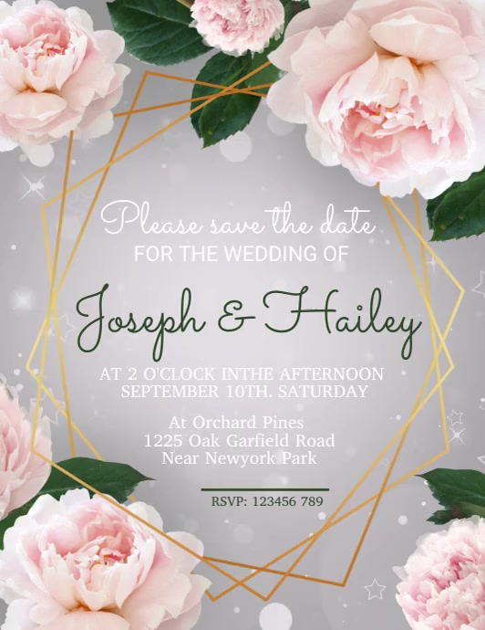 Wedding, anniversary, save the date Pamflet (Letter AS) template