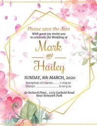 Wedding, anniversary, save the date Flyer (US Letter) template