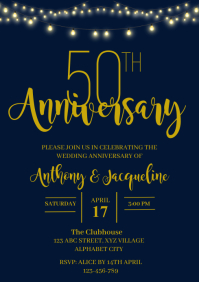 Wedding Anniversary Invitation A4 template