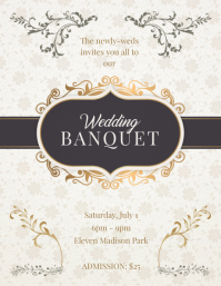 Wedding Banquet Party Invitation Flyer Template
