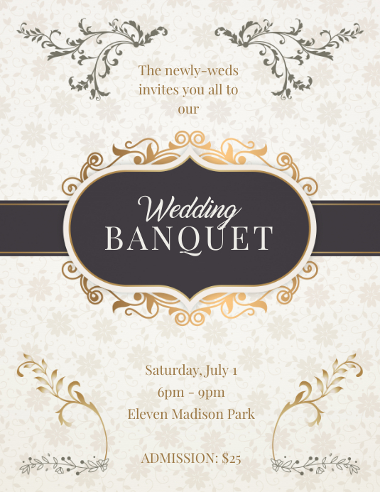 Wedding Banquet Party Invitation Flyer Template Postermywall