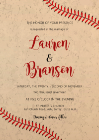 Wedding baseball invitation A6 template