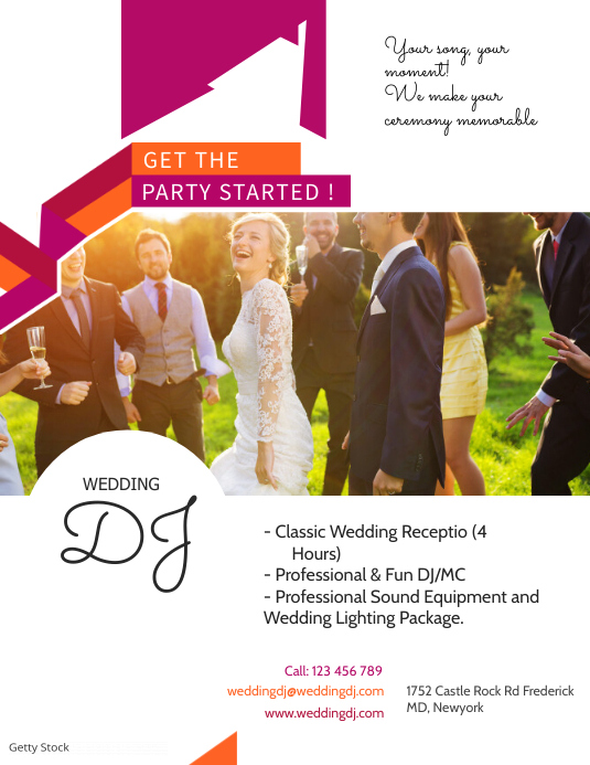 wedding dj services flyer template postermywall
