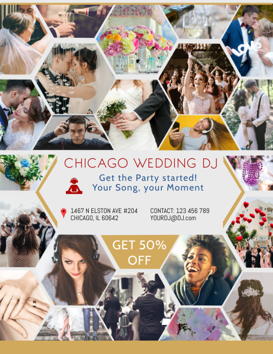 Wedding event dj collage flyer template postermywall wedding event dj collage flyer template maxwellsz