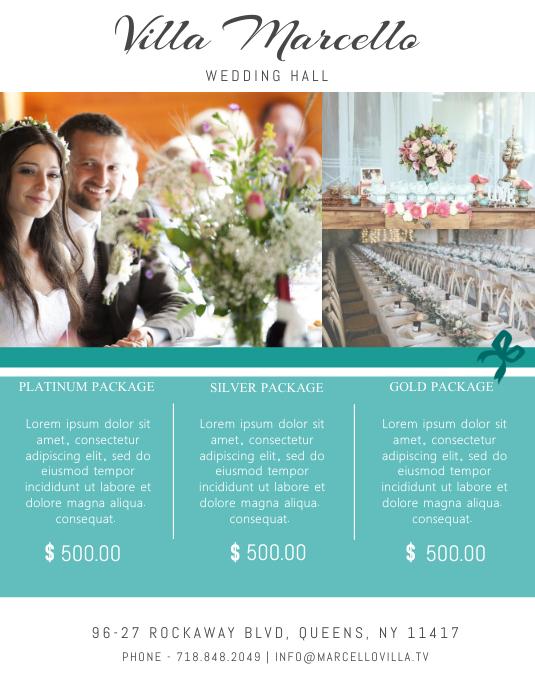 Wedding Event Hall Flyer Template Pamflet (Letter AS)