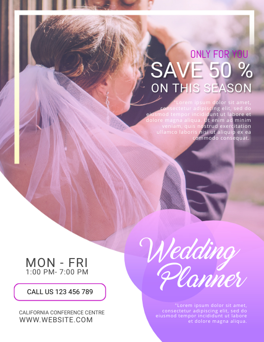 wedding event planner flyer template postermywall