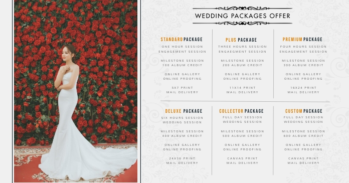 Wedding Event Planner Price List Facebook 共享图片 template