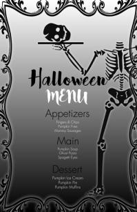 Wedding Halloween Food Menu Demi-page de format Wide template