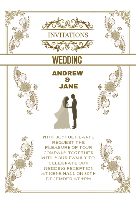 Wedding Invitation Anniversary Card Template