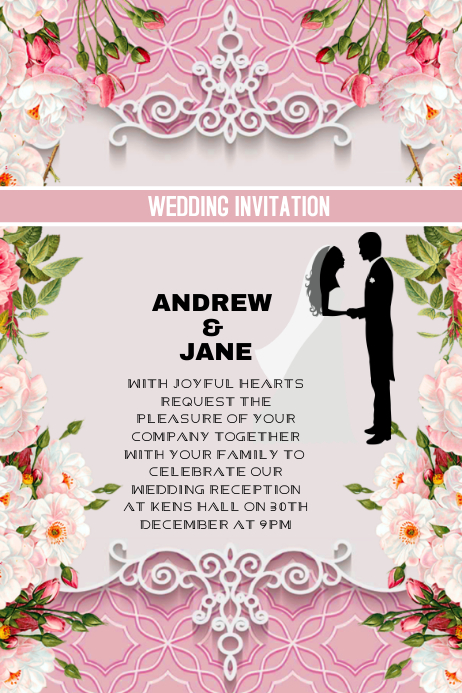 wedding invitation anniversary card template postermywall