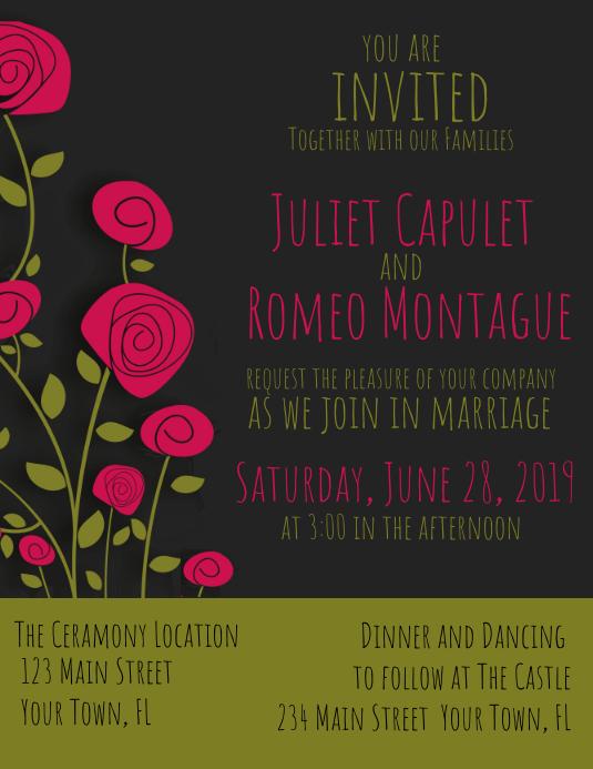 Wedding Invitation Black Green Rose