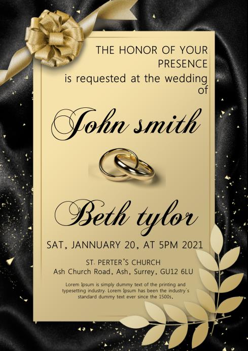 wedding invitation card A4 template
