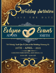 Wedding Invitation Card Flyer (format US Letter) template