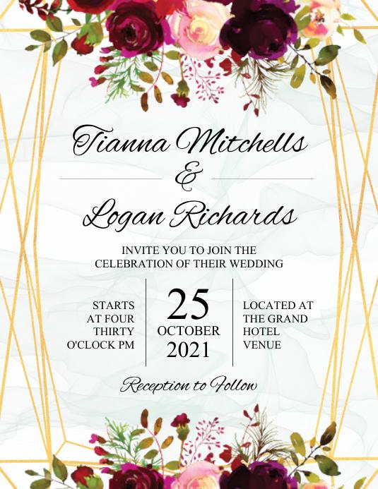 Wedding Invitation Pamflet (Letter AS) template