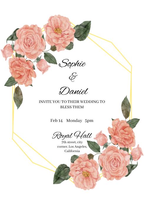 WEDDING INVITATION A4 template