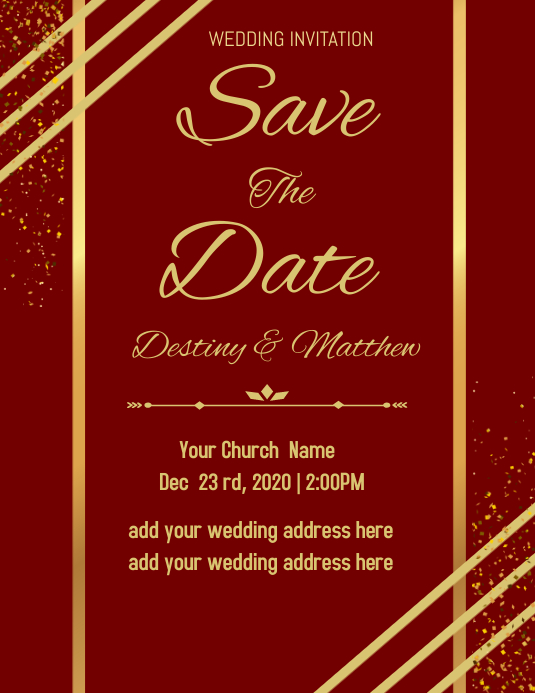 Wedding Invitation Flyer (Letter pang-US) template