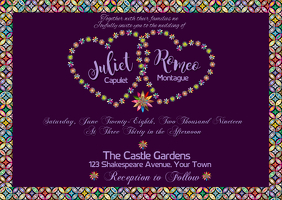 Wedding Invitation Foil with deep purple back