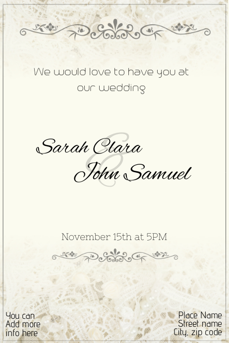 wedding invitation template lace