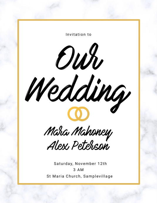 Wedding Invitation Marble Flyer