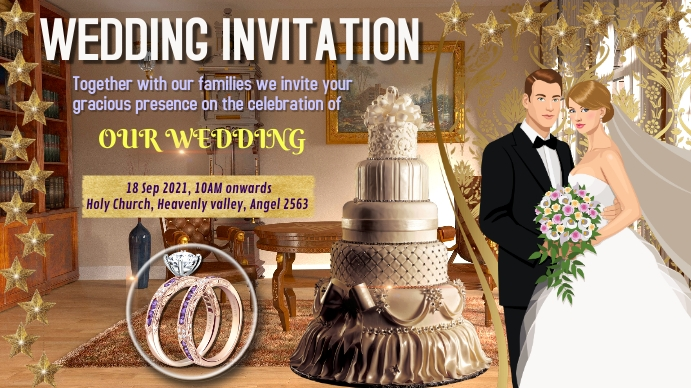 wedding invitation marriage party Цифровой дисплей (16 : 9) template