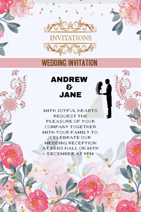 Wedding Invitation Or Anniversary Card Template Postermywall
