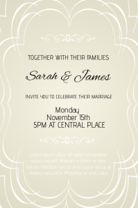 Attractive Wedding Invitation Flyer Template Portrait