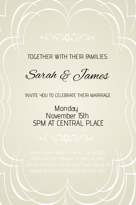 wedding invitation flyer template portrait