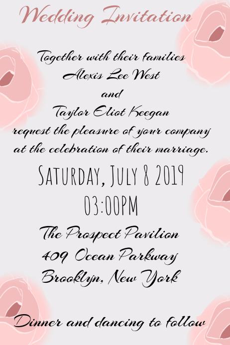 Wedding invitation Rose Flower template