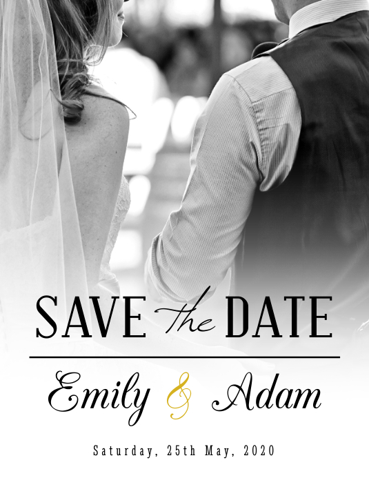 Wedding Invitation Save the Date Flyer Volante (Carta US) template