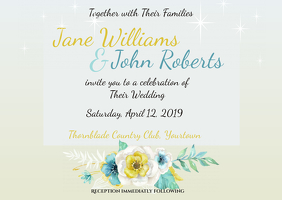 Wedding Invitation Sparkles and Flowers