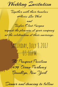 Wedding invitation Sunflower template