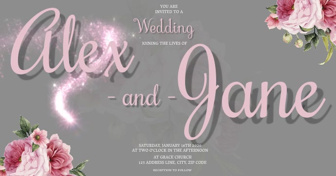 Wedding Invitation Template Facebook Shared Image