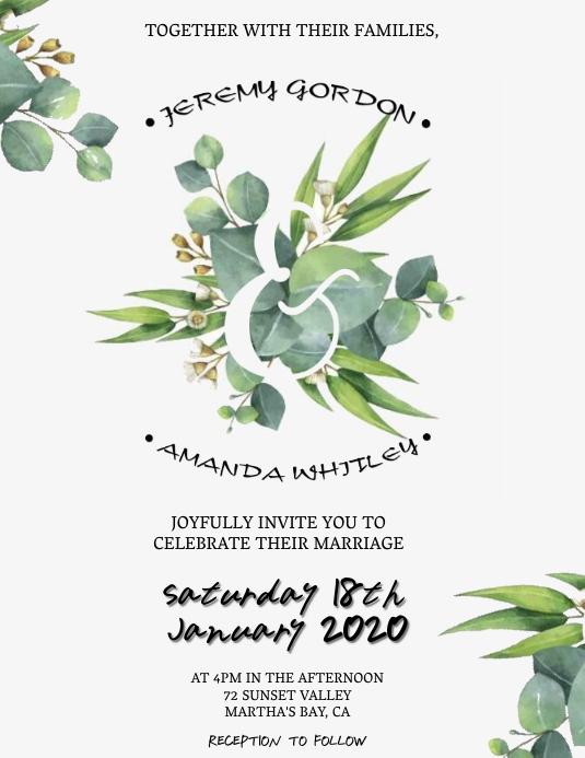 Wedding Invitation Template ใบปลิว (US Letter)