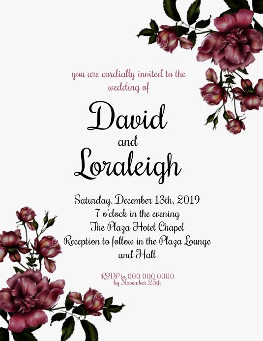 Wedding Invitation Template Рекламная листовка (US Letter)