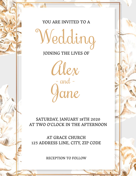Wedding Invitation Template Flyer (Letter pang-US)
