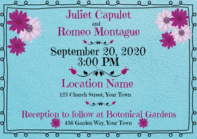 Wedding Invitation Turquoise and flowers