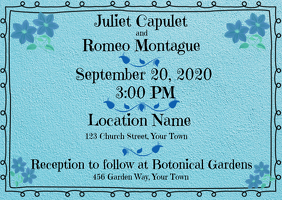 Wedding Invitation Turquoise Sweet Border