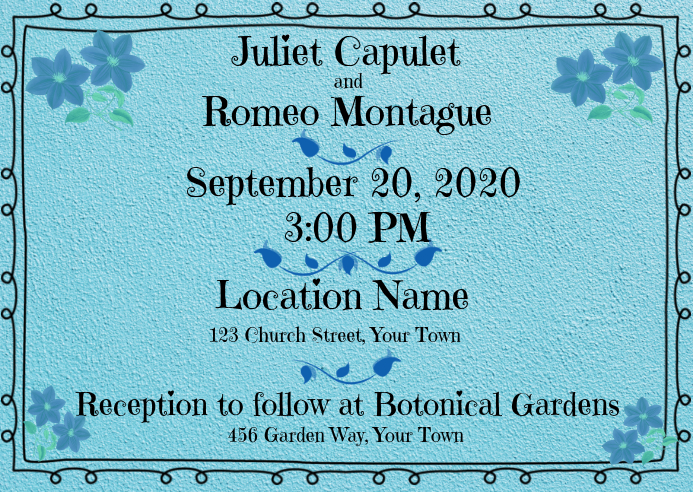 Wedding Invitation Turquoise Sweet Border Template