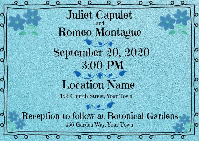 Wedding Invitation Turquoise Sweet Border