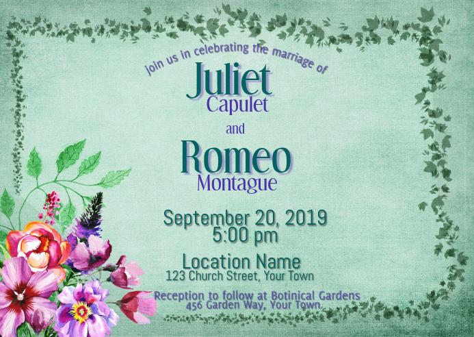 Wedding Invitation Watercolor Flowers