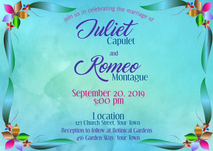 Wedding Invitation Watercolor Foil Flowers