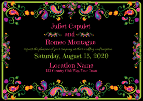 Wedding Invitation with Foil and Black Backgr