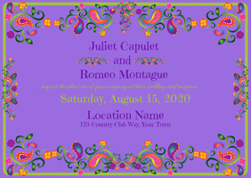 Wedding Invitation with Foil and Purple