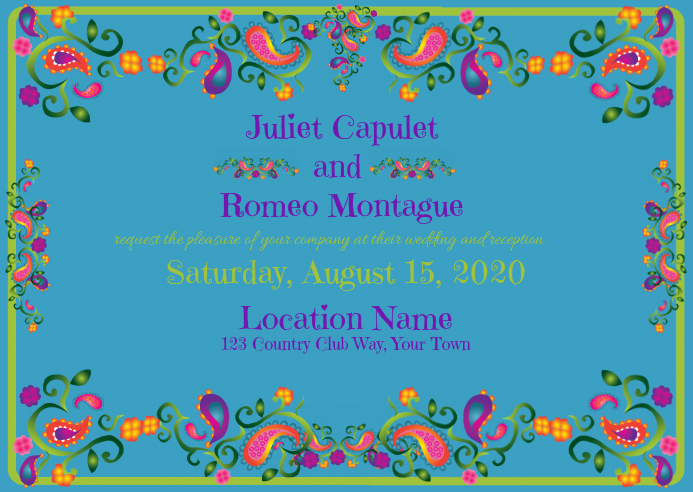 Wedding Invitation with foil and turquoise