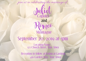 Wedding Invitation with White Rose